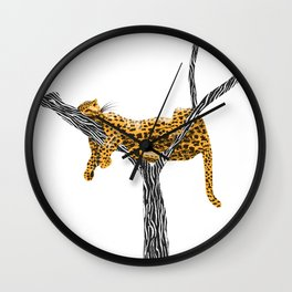 Leopard Ink & Digital Drawing Wall Clock