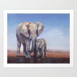 Elephants Mom Baby Art Print