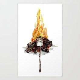 Campfire, Smore, Marshmallow Roasting, Camping Art Print