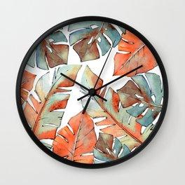 Watercolor Tropical Leaves III Wall Clock