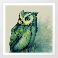 owl Art Prints featuring Green Owl by Teagan White