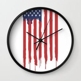 Bleeding American Flag of a US Patriot Wall Clock
