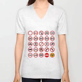 Road Signs - Red Round Unisex V-Neck