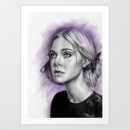 Elle Fanning Drawing - Spatter Series Art Print