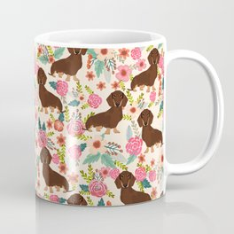 Doxie Florals - vintage doxie and florals gift gifts for dog lovers, dachshund decor, chocolate and Coffee Mug