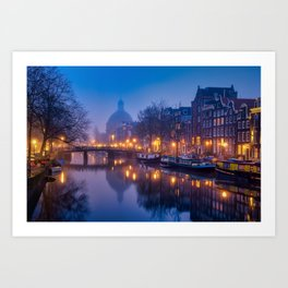 Dreamy Amsterdam by night Art Print