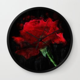 Red Rose Impressionist Painting Wall Clock