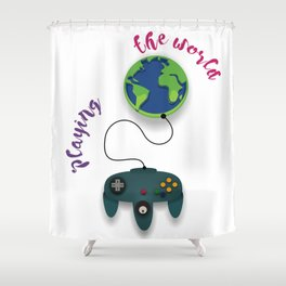 Playing the World Shower Curtain