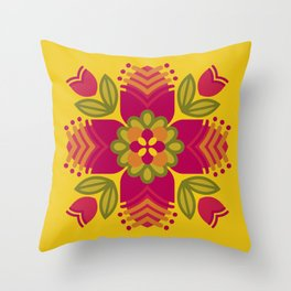 Graphic Floral Mandala on Yellow Throw Pillow