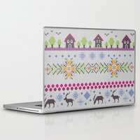 knitting Laptop & iPad Skins featuring Winter Knitting by Ornaart