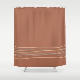Sherwin Williams Cavern Clay Warm Terra Cotta SW 7701 with Scribble Lines Bottom in Accent Colors Shower Curtain