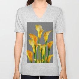 DECORATIVE GOLDEN CALLA LILY FLOWERS ON GREY ART Unisex V-Neck