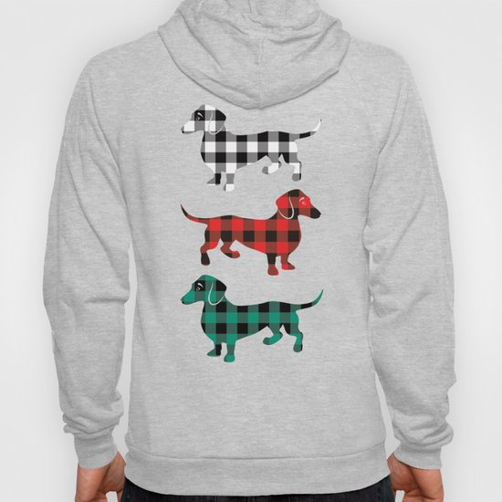 Christmas Dachshunds Red Flannel by antiqueimages