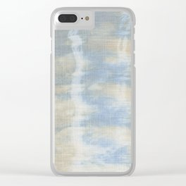 Blue Tan Waves Clear iPhone Case