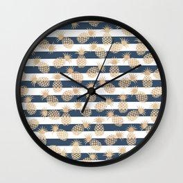 Nautical modern navy blue white stripes blush beige pineapple Wall Clock