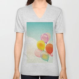 Dreamy Candy Colored Balloons Unisex V-Neck
