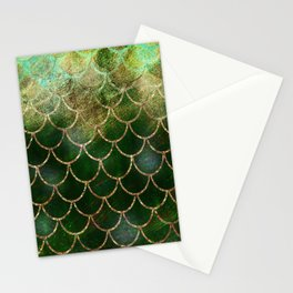 Green & Gold Mermaid Scales Stationery Cards