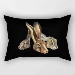 Hare illustration of three brothers - hand painted watercolor artwork - nature painting - Black Rectangular Pillow