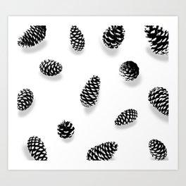 PINE CONE BLACK AND WHITE Art Print