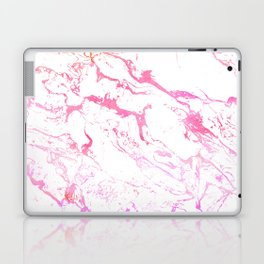 Modern pink purple watercolor white marble pattern Laptop & iPad Skin