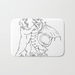 Bear Fighting Chinese Dragon Drawing Black and White Bath Mat