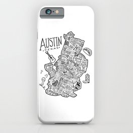 Austin Texas Illustrated Map iPhone Case