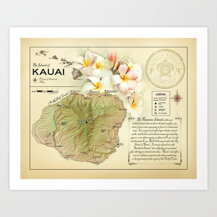 picture regarding Printable Map of Kauai titled The Island of Kauai \