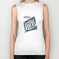 """inception Biker Tanks featuring """"Inception"""" Leonoardo DiCaprio Film Inspired Vintage Movie Poster by Dan Howard"""