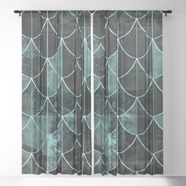 Mermaid scales. Mint and black. Sheer Curtain