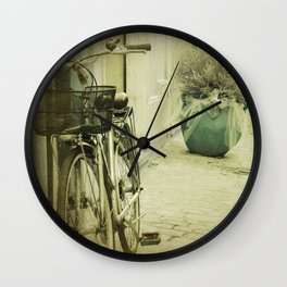 Streetview with bicycle Wall Clock