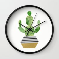 cactus Wall Clocks featuring Cactus by Elisabeth Fredriksson