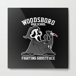 Fighting Ghostface Metal Print