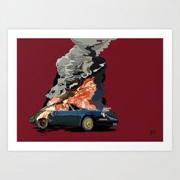 Crashed and burning Porsche 911 Art Print