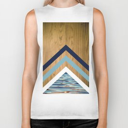 Wood Water Waves Geometric Hipster Triangels Biker Tank