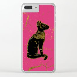 Sphinx Black & Gold Egyptian  cat on fuchsia Clear iPhone Case