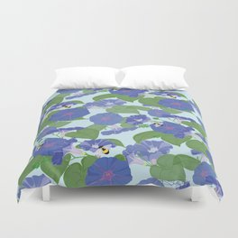 Glory Bee - Vintage Floral Morning Glories and Bumble Bees Duvet Cover