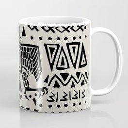 Aztec Eagle and Ornaments - Black Coffee Mug