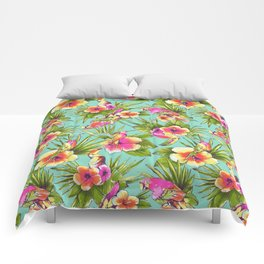 Tropical flowers with parrots Comforters