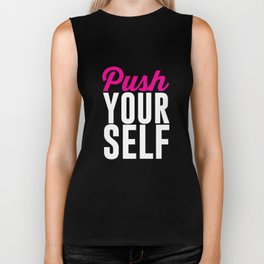 Push Yourself Workout Graphic T-shirt Biker Tank