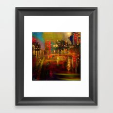 The yellow city of taxis Framed Art Print