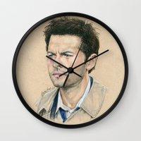 castiel Wall Clocks featuring Castiel by Stormwolf Studios