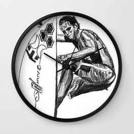 Surfer - Black and White Wall Clock