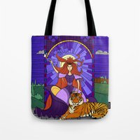 stained glass Tote Bags featuring Stained glass by Rafapasta