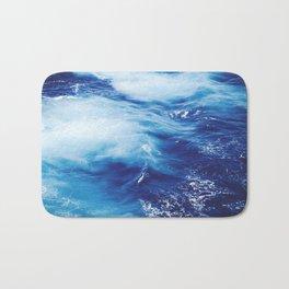 Navy Blue Ocean Wave Bath Mat