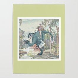 Castiel Pinup on a Dinosaur Poster