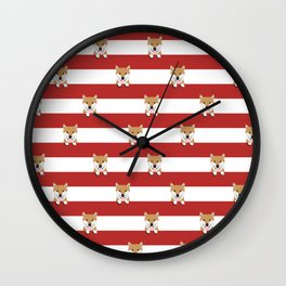 shiba inu stripes dog breed gifts Wall Clock