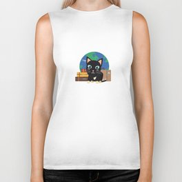 World Travel cat with suitcases   Biker Tank