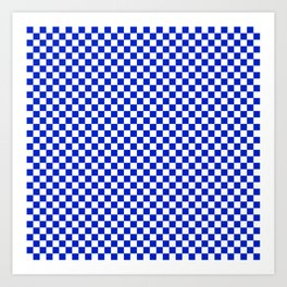 Small Cobalt Blue and White Checkerboard Pattern Art Print