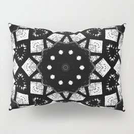 Black White Mosaic Kaleidoscope Mandala Pillow Sham