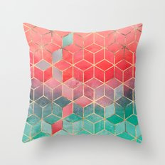 Rose And Turquoise Cubes Throw Pillow